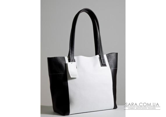 Шкіряна жіноча сумка Флоренція біло-чорна