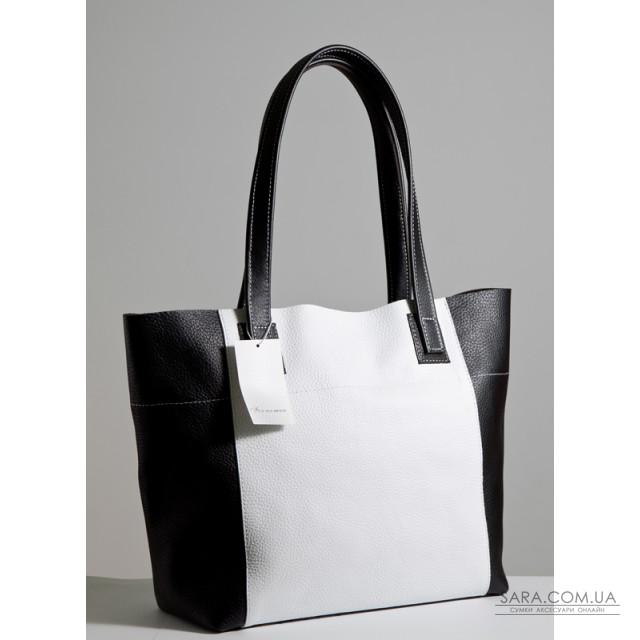8c0bc264a337 Кожаная женская сумка Флоренция бело-черная дешево от производителя ...