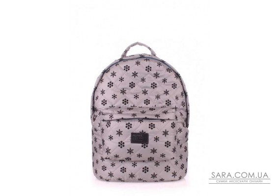Рюкзак стьобаний POOLPARTY (pool-backpack-snowflakes-grey)