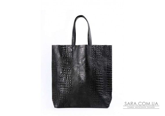 Шкіряна сумка POOLPARTY City (pool-leather-city-croco-black)