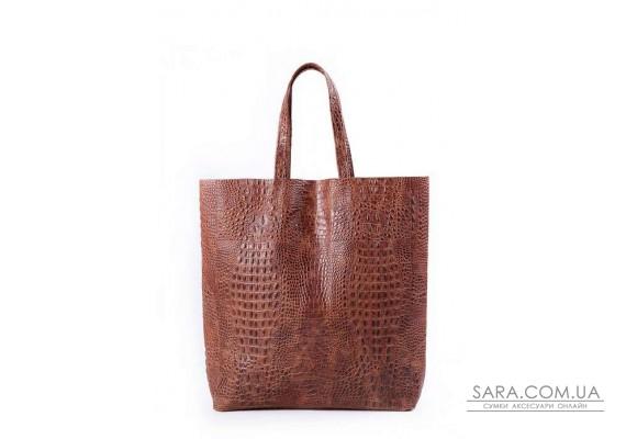 Шкіряна сумка POOLPARTY City (pool-leather-city-croco-brown)