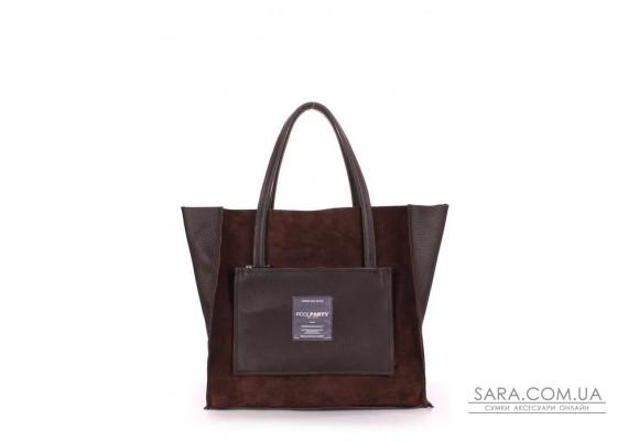 Шкіряна сумка POOLPARTY Soho (pool-soho-insideout-brown-velour)