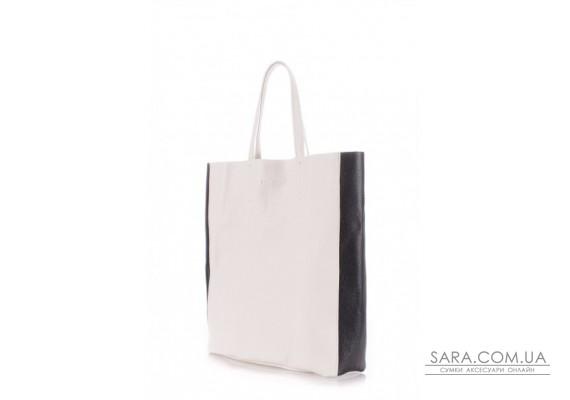 Шкіряна сумка POOLPARTY City (pool-city2-white-black)