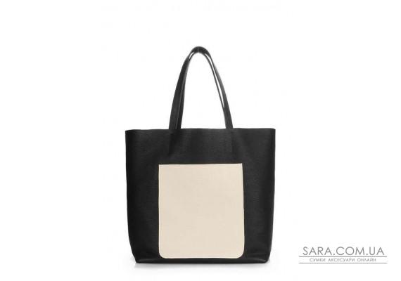 Шкіряна сумка POOLPARTY Mania (pool-mania-black-beige)