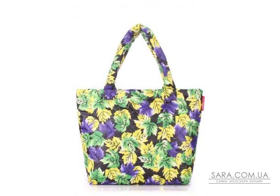 Дута сумка POOLPARTY з принтом (pool-pp4-yellow-violet-leaves)
