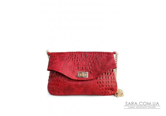 Кожаная сумочка-клатч POOLPARTY с цепочкой (pool-poolparty-red-crocodile-clutch)