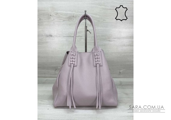 Шкіряна жіноча сумка-шоппер Akua фіолетова WeLassie