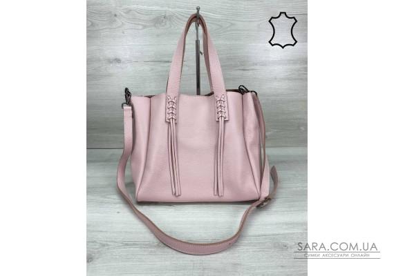Шкіряна жіноча сумка-шоппер Akua пудра WeLassie