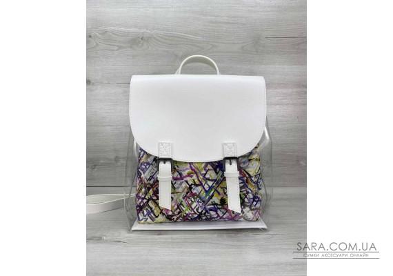 Рюкзак силіконовий білий з косметичкою абстракція WeLassie