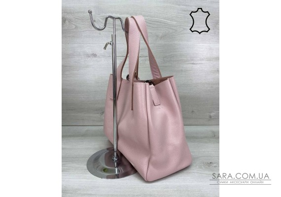 Кожаная женская сумка-шоппер Akua пудра WeLassie
