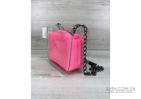 Сумка Селена силіконова з рожевим неоновим косметичкою WeLassie