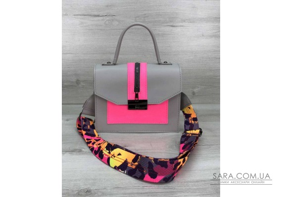 Женская сумка Daisy серый с малиновым WeLassie
