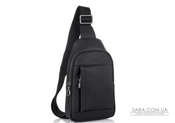 Мужская кожаная сумка-слинг черная Tiding Bag SM8-827A