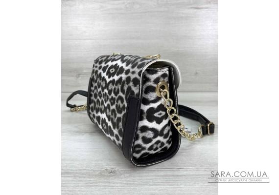 Жіноча сумка «Бэсс» чорно-білий леопард WeLassie