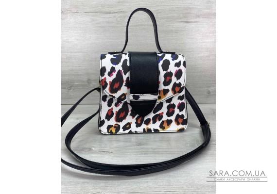 Сумка жіноча «Обі» чорно-білий леопард WeLassie