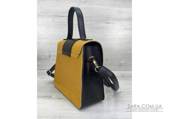 Жіноча сумка «Обі» чорна з гірчицею WeLassie