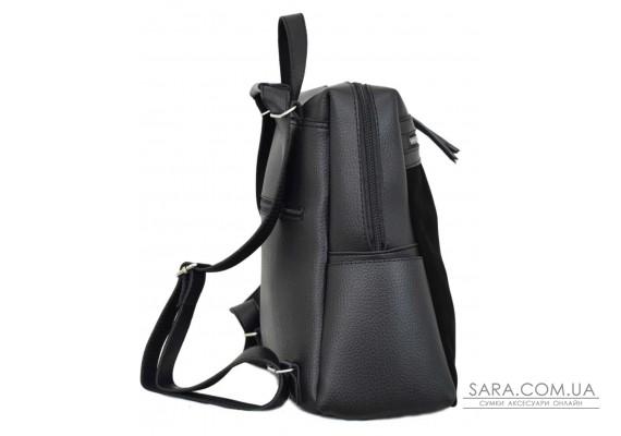656 сумка-рюкзак замш чорна Lucherino