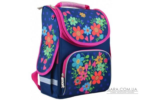 Шкільний каркасний рюкзак Smart 26х34х14 см 12 л для дівчаток PG-11 Flowers blue (554464)
