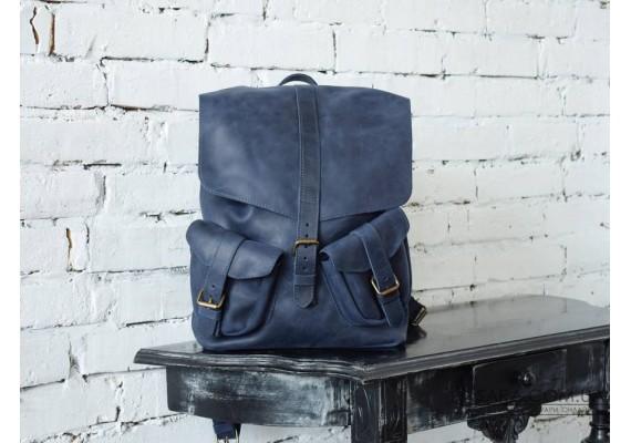 Рюкзак кожаный ROCK Blue 879062 Babak