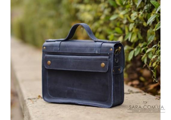 Портфель кожаный Messenger Blue 952062 Babak