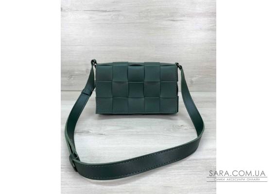 Женская сумка Bottega плетеная зеленая WeLassie