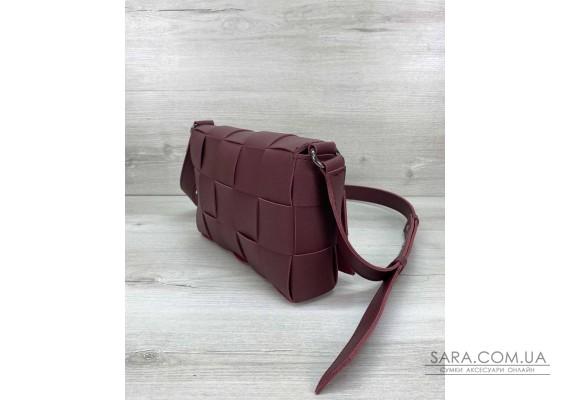Жіноча сумка Bottega плетені бордова WeLassie