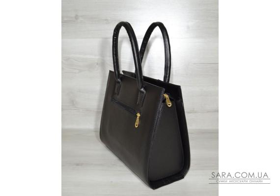 Женская сумка Бочонок черный с черной лаковой вставкой WeLassie