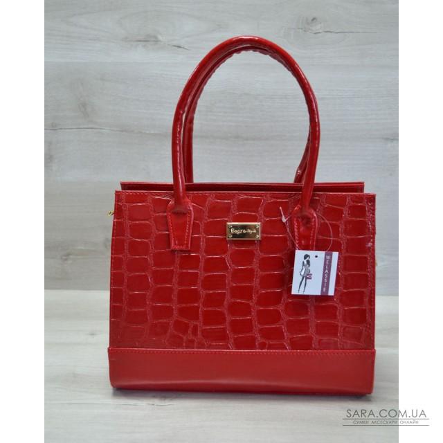 27c1ed1797f1 Купить Каркасная женская сумка красный лаковый крокодил WeLassie ...
