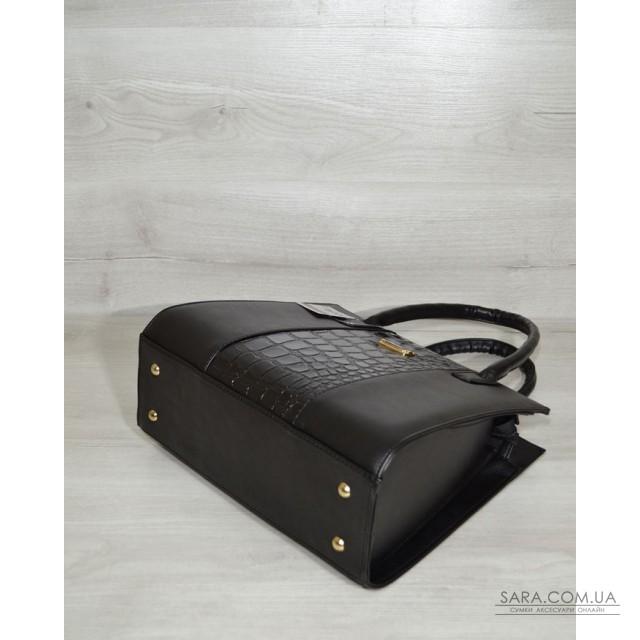 Жіноча сумка Бочонок чорний з чорною лаковою вставкою WeLassie дешево