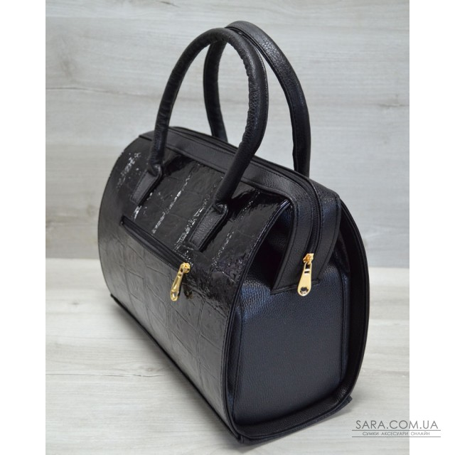Каркасная женская сумка Саквояж черный лаковый крокодил WeLassie дешево 54d51eabbdf