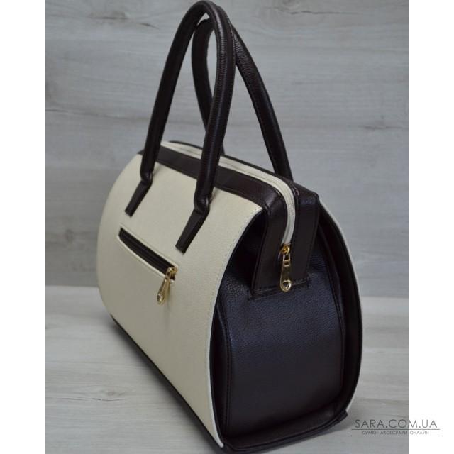 Каркасная женская сумка Саквояж бежевый гладкий с коричневыми ручками  WeLassie дешево 31adc16a236