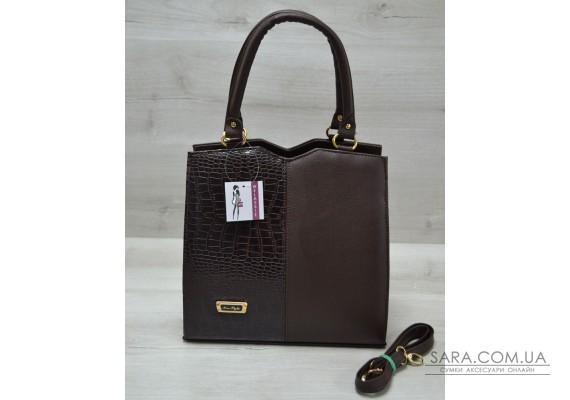 Классическая женская сумка Треугольник коричневого цвета с коричневым крокодилом WeLassie