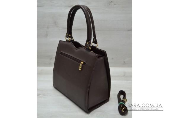 Класична жіноча сумка Трикутник коричневого кольору з коричневим крокодилом WeLassie