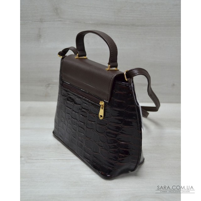 73f66920deca Молодежная женская сумка-клатч коричневый лаковый крокодил WeLassie дешево