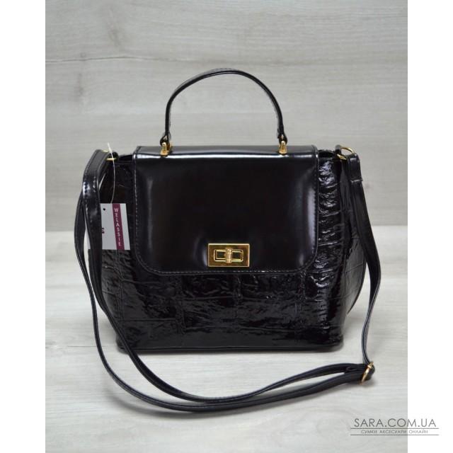 852760ad9b05 Молодежная женская сумка-клатч черный лаковый крокодил WeLassie дешево