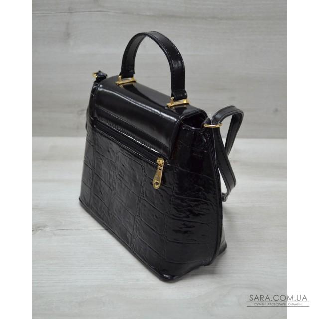 e003a048c2d2 Молодежная женская сумка-клатч черный лаковый крокодил WeLassie дешево