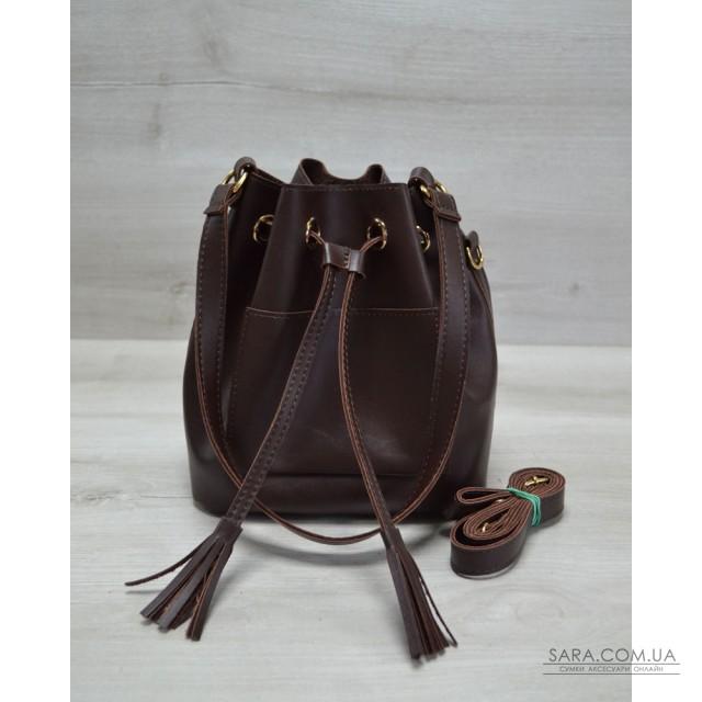630869c26105 Молодежная сумка из эко-кожи Люверс коричневого цвета WeLassie дешево