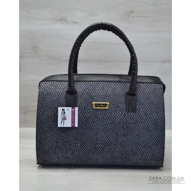 Каркасна жіноча сумка Саквояж сіра змія з чорними ручками WeLassie дешево a824373a5d7cf