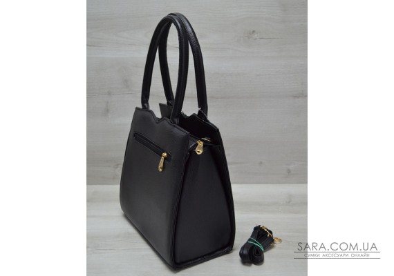 Классическая женская сумка Треугольник черного цвета с серым крокодилом WeLassie