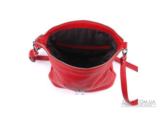 Сумка кожаная женская через плечо 420103 красная