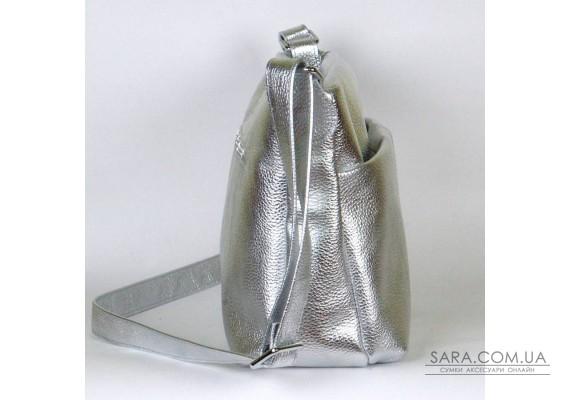 Сумка кожаная женская через плечо 460107 серебро