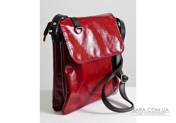 Сумка-планшет кожаная женская через плечо 080420 наплак бордо