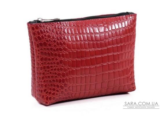 Жіноча косметичка шкіряна k010203 кайман червона