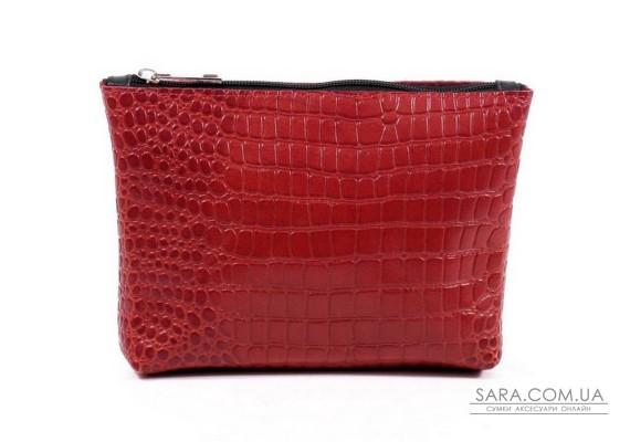 Женская косметичка кожаная k010203 кайман красная