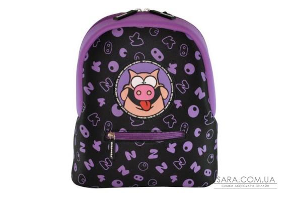 Рюкзак дошкільний KOKONUZZ-BE HAPPY зі свинею чорний з фіолетовим
