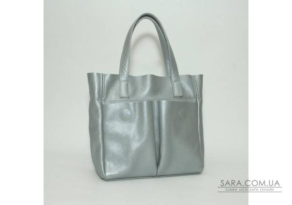 Сумка шкіряна жіноча 020107 срібло