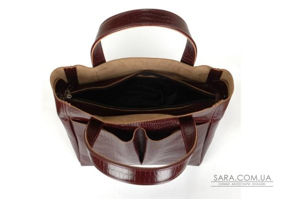 Сумка шкіряна жіноча 020202 кайман коричнева