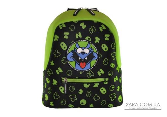 Рюкзак дошкільний KOKONUZZ-BE HAPPY з собакою чорний з салатовим