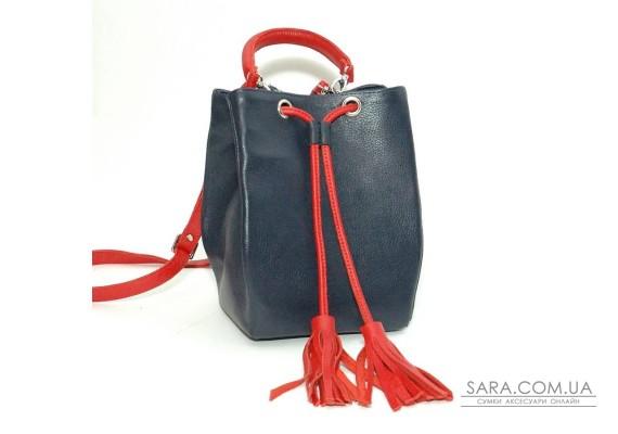 Сумка шкіряна жіноча 250145 синьо-червона