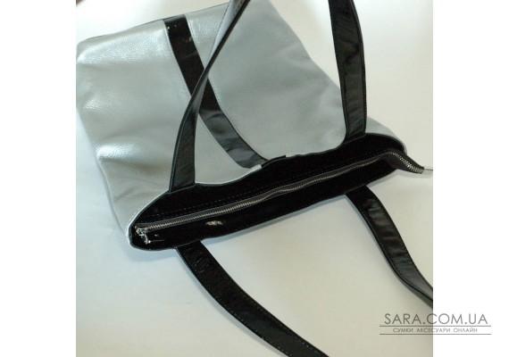 Сумка шкіряна жіноча 270107 срібло